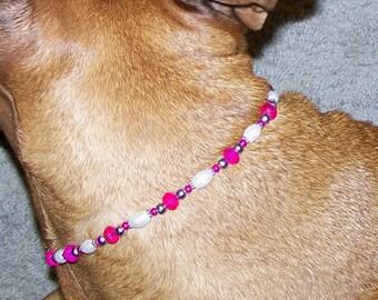 Pink Crystal Dog Necklace, Dog Necklace, Pet Necklace, Beaded Dog Collar, Beaded Dog Necklace