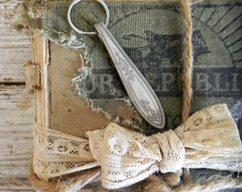 Silver Spoon Hanlde Key Fob, Key Chain, Key Ring, Art Deco Silverware Key Fob, Vintage Silver Spoon Handle Key Fob, RePurposed Flatware