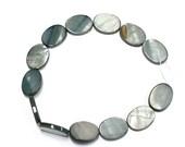 Feb Sale - 13 Bead Strand - 16mm x 12mm Flat Oval Grey River Shell Beads