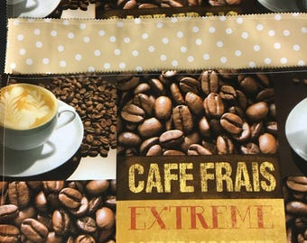 Reversible coffee print and tan  oilcloth placemats