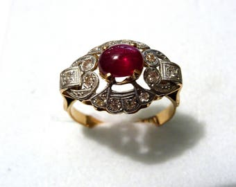 Art Deco 18 k Gold and Platinum  Diamond and Ruby Ring