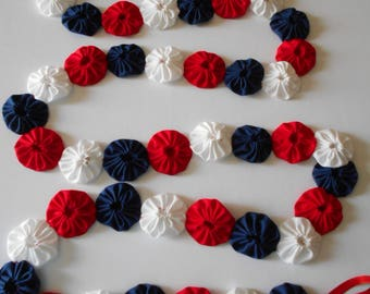 Red, White and Blue Americana 6 Foot Garland Patriotic July 4th Holiday