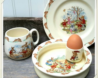 Wonderful Bunnikins Bowl Set with Egg Cup set of four made by Royal Daulton Sweet collectable for Nursery, Baby Gift