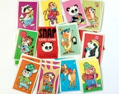 Vintage 1960s Childrens Game / 60s Whitman Snap Card Game with Case VGC Complete / Pastel Kitschy Cute Animal Illustrations