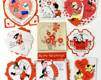 Vintage 1930s Valentine's Day Folded Cards Set of 9 USED / Collectible Ephemera, Boys Girls Hearts Dogs