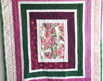 Tuscan Garden Quilt, Modern Quilt, Baby Quilt, Crib Quilt, Small Throw Quilt, Nursery Decor