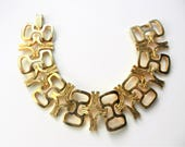 Fanciful Open gold Links glossy finish and nuggets Bracelet - 1960s quality Italian designer - original and unique - Art.738/4