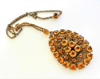 Old impressive & rare deep Topaz Czech/Bohemia pendant necklace- brilliant unfoiled topaz glass stones on floral pattern setting - Art.815/4