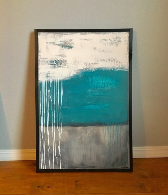 large teal grey silver abstract painting wood frame custom. Black Bedroom Furniture Sets. Home Design Ideas