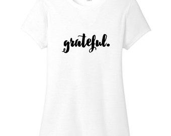 Grateful - Inspirational Women's Fitted T-Shirt