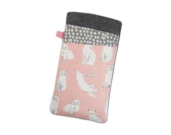 Samsung S8 Plus, Pink Cat Phone Case, Galaxy S7 Edge, Samsung Phone Sleeve, Nexus 6P, LG G6, Galaxy J5 Case, Nexus 6 Case, Cat Lover Gift