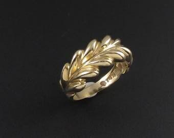 14k Gold Ring, Gold Plume Ring, 14k Gold Ring, Gold Band Ring, Yellow Gold Ring, Size 5 Ring