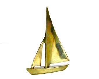 Vintage Brass Sailboat Figurine Paperweight