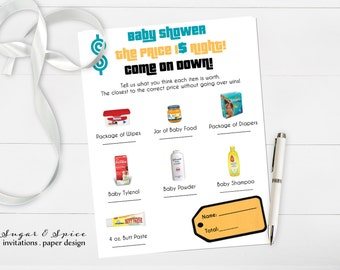 Baby Shower Game Printable, The Price is Right Baby Shower Game Boy, PRINTABLE Baby Shower Game, baby shower printable games