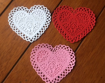 "Layered Scalloped Hearts / Die Cut / 3"" / Valentine DIY"