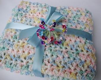 Crochet Baby Blanket, Newborn Size Blanket, Baby Blanket, Acrylic Baby Blanket, New Baby Gift, Multicolor Baby Blanket, Unisex Baby Blanket