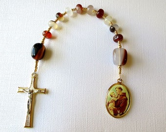 Earth tone One decade Rosary with Saint Anthony Medal