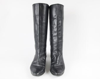 1980s Black Leather Knee High Boots 80s Slouchy Boots Equestrian Riding Boots Flat Leather Boots Tall Pull on Pirate Boots Size 7.5