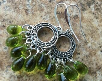 Antique Olive Green Drop Earrings  | Ornate Silver & Lime Chandelier Dangles