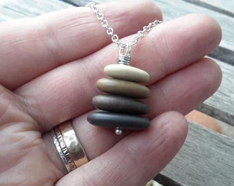 Cairn Necklace   Zen Balance Stacked Rock Pendant on Silver Chain