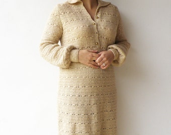 VIntage Crochet Dress / 1960s Cream Wool Dress / Size L XL