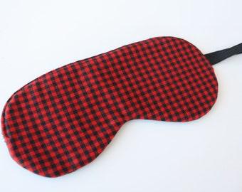 Buffalo Check Sleep Mask, Eye Mask Travel Mask, Stocking Stuffer, Gift for Dad, Red and Black, Lumberjack mask