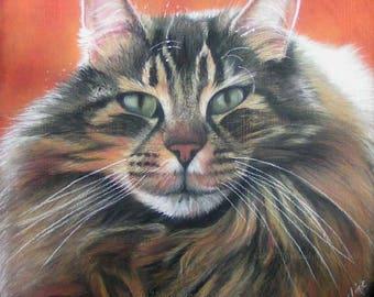 Maine Coon Cat Original Painting by Michaeline McDonald - cat painting, original painting, pet portrait, cat portrait,