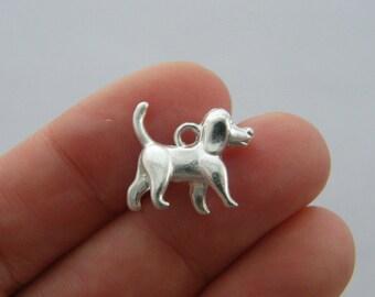 BULK 50 Dog charms silver plated D39
