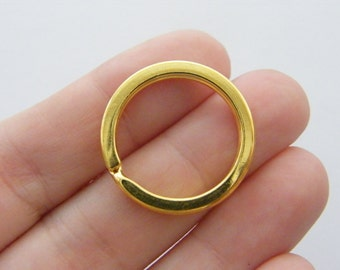4 Key rings 25 x 2.3mm gold plated FS384