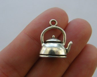 6 Kettle charms antique silver tone FD253