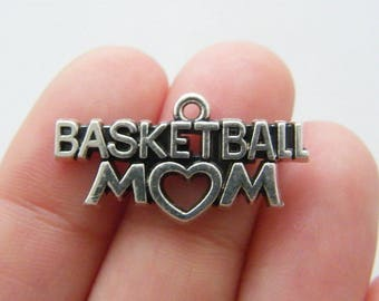 BULK 20 Basketball mom charms antique silver tone M843