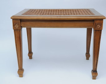 Antique Cane Caned Vanity Bench-Cane and wood Piano Bench Display Bench Table