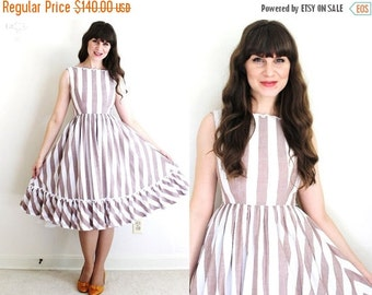 ON SALE 50s Dress / 1950s Dress / Striped 50s Dress