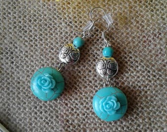 Butterfly Turquoise Rose Earrings