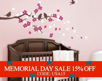 Memorial Day Sale - Cherry Blossom Branch with Birds - Kids Vinyl Wall Sticker Decal Set