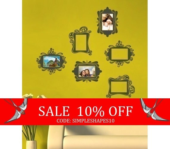 Sale - Vintage Photo Frames - Vinyl Wall Sticker