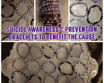 Suicide Awareness & Prevention Purple Glass Bead Bracelets - Proceeds Go To The Overnight Walk - Great Gift