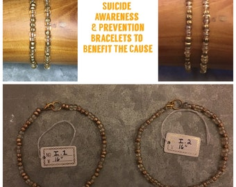 Suicide Awareness & Prevention Gold Glass Bead Clasp Bracelets - Proceeds Go To The Overnight Walk - Great Gift