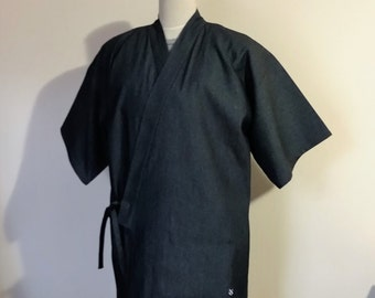 Men's KIMONO top JINBEI indigo navy denim SAMURAI style casual work shirt made to order