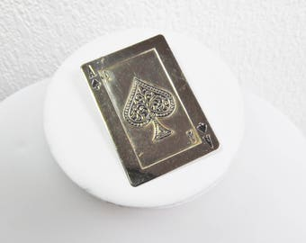 Novelty Silver Ace of Spades Playing Card Brooch, Vintage Brooch, Scarf Pin, Costume Jewellery, Vintage Accessory,