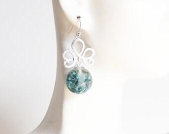 Dried Flower Resin Sphere Earrings- Resin Earrings- Resin jewelry- Resin Flower earrings-Blue Flower Sphere Earrings- Mother's Day Gift-Her