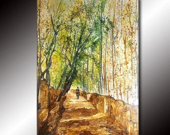Original Landscape Tree Pathway Brown Green Gallery fine art painting by Henry Parsinia Large 36x24