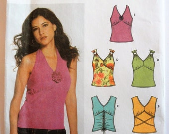 Knit top pattern, sleeveless fitted V neck, halter, for knits only uncut pattern Simplicity 5055 misses size 4 6 8 10 bust 29 1/2 to 32 1/2