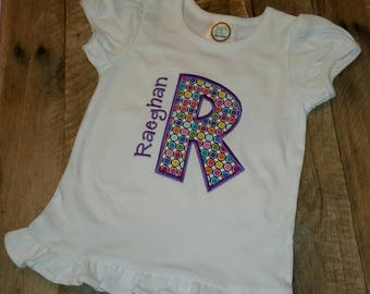 Personalized monogram applique girls shirt