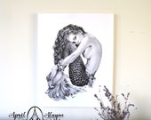 Mermaid- Illustration- Black and white- canvas- signed print- woman- portrait- fine art -siren