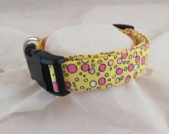 Yellow Bubbles Dog Collar, Dog Collars