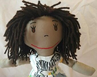 Precious African American Rag Doll, Dark Hair Rag Doll,Removable Clothes,Rag Doll,Fabric Doll, Stuffed Doll,Plush Doll, Rag Dolls