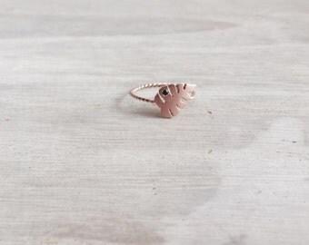 14 K SolidRose Gold Tropical Leaf Ring, 14 K Rose Gold, Solid Gold Ring, Leaf Ring