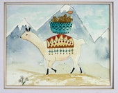 Llama, Peru, original watercolor, children's, nursery art, double matted, large art, traveling to market, whimsical, turquoise, orange, blue