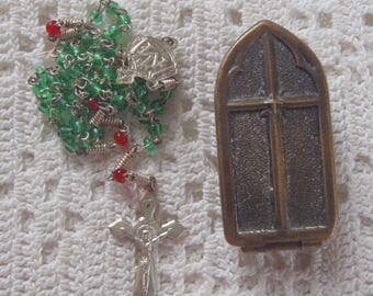 Vintage German Rosary Case and Czech Miniature Glass Bead Rosary